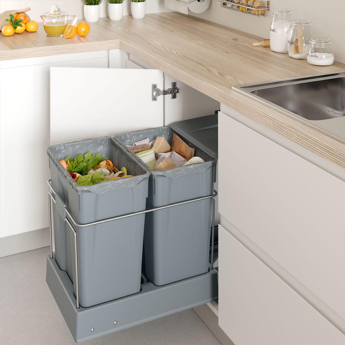 Cubos de basura extraible bajo el fregadero